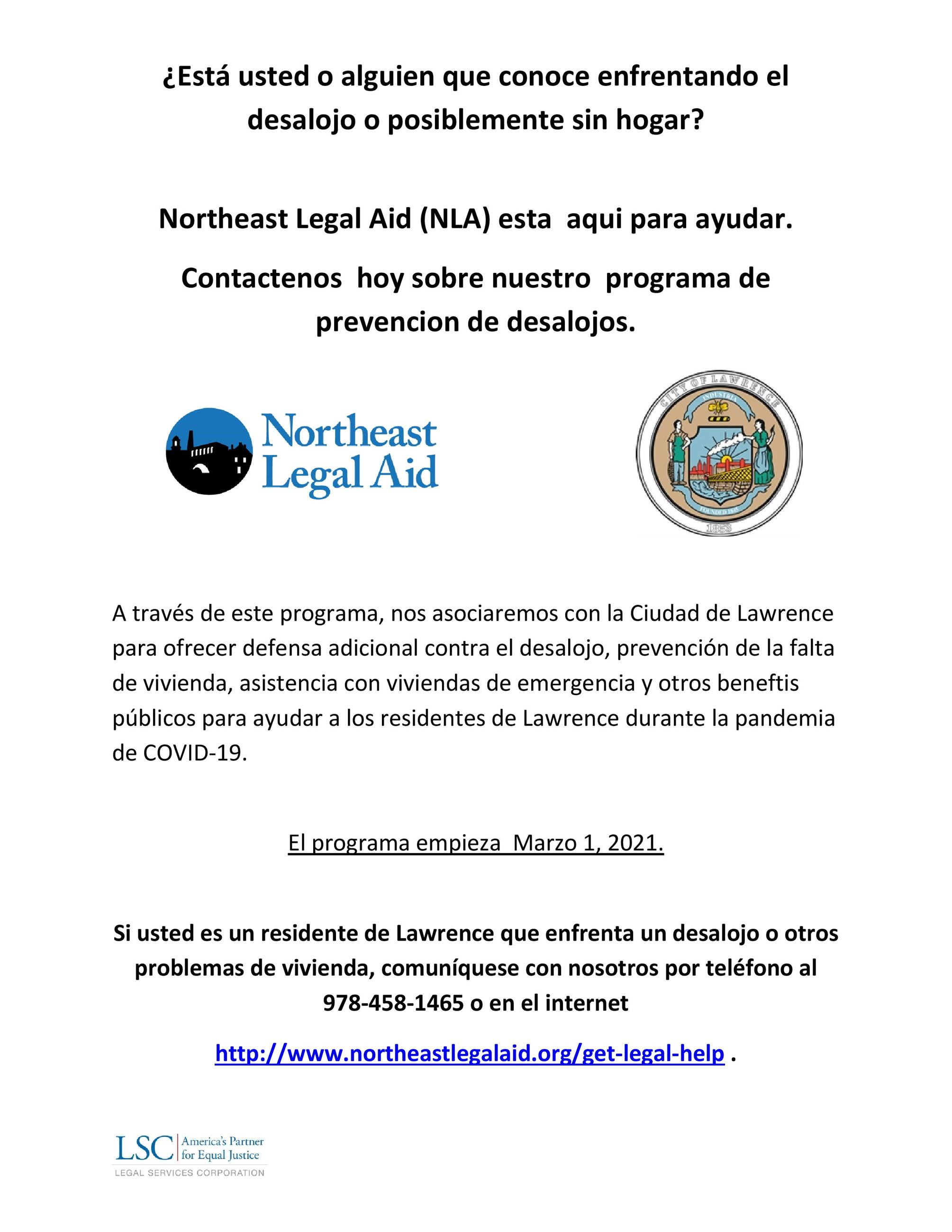 Eviction Defense Program Flyer in Spanish